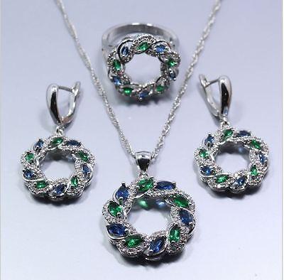 Schmuckset 3tlg Sterling Silber 925 Ring Gr.60 (19,1cm) Blau/Grün Zirkonia NEU