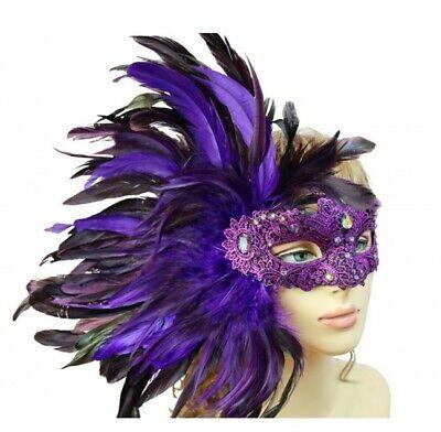 Mardi Gras Venice (Mardi Gras Women Costume Mask Masquerade Side Feathers Venice Carnival)
