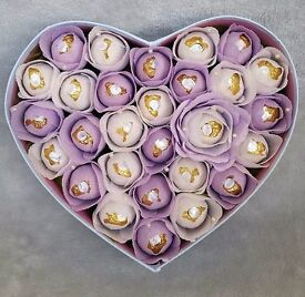 Handmade Ferrero rocher flower heart in gift box . contains 28 ferrero rocher chocolates