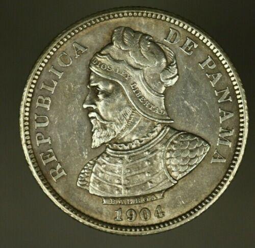 Panama Silver 25 Centesimos 1904  AU   A820