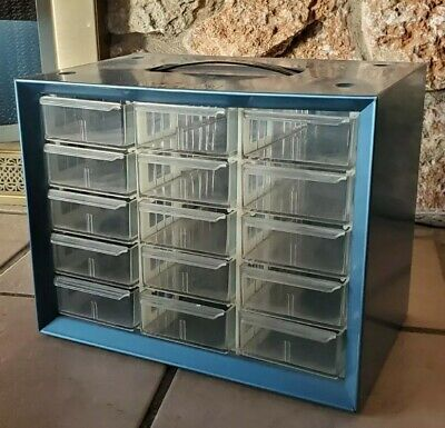 Vintage Storage Cabinet Akro-mills A-m Metal Plastic 15 Drawers Small Parts