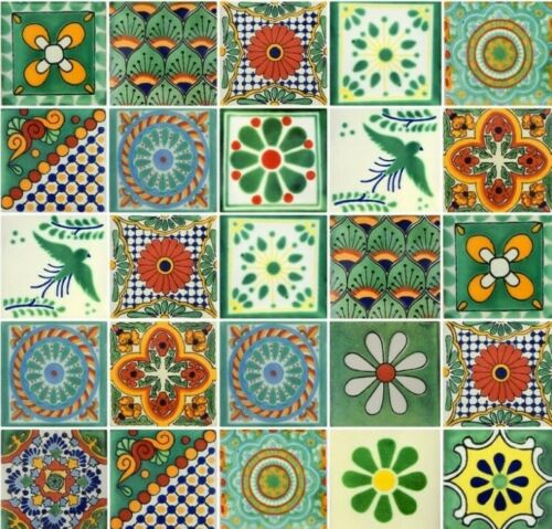 25 4x4  Mexican Ceramic Tiles Green Assorted Designs
