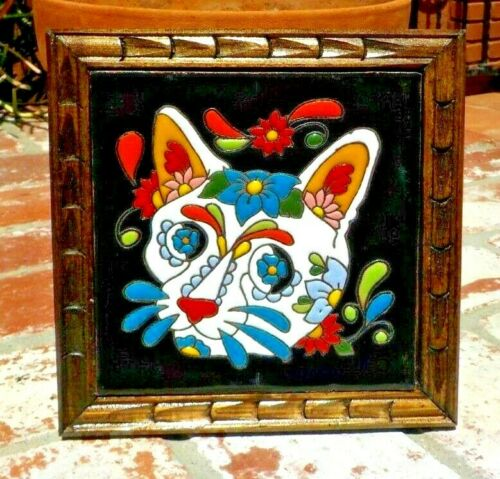 "DAY OF THE DEAD CAT EL GATO RED CLAY TILE FRAME TRIVET 7 1/2 "" TALAVERA MEXICO"