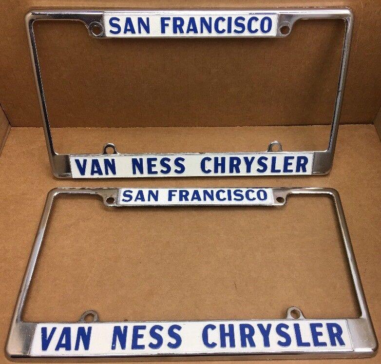 RARE NEW 70s 80s ( SAN FRANCISCO CA)VAN NESS CHRYSLER DEALER-LICENSE PLATE FRAME