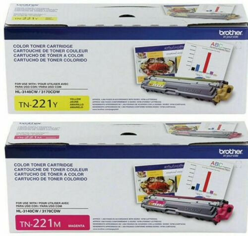 2 Genuine Factory Sealed Brother TN-221 Yellow and Magenta Toner Cartridges