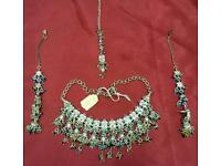Silver plated multi coloured stone Asian fashion and party jewellery set