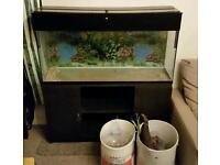 Large fish tank with cabinet and parts