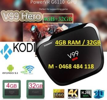 4GB RAM/32GB Smart TV Box Android V99 Hero Octa-core 4K Kodi BT