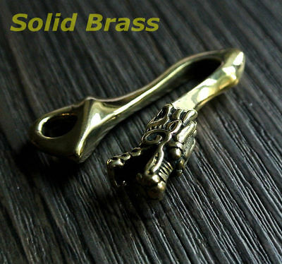 Vintage Dragon Head Solid Brass Fob Belt Clip Buckle Key Chain Ring Holder Hook