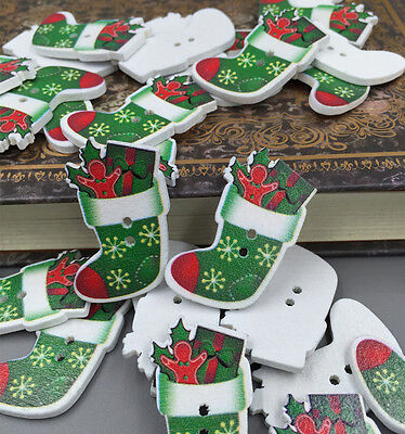 Merry Christmas green socks filled with gifts Wooden Buttons Sewing 35mm Crafts  ()