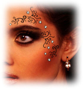 Party eyes gem temporary tattoo transfer swarovski crystal for Crystal eye tattoos