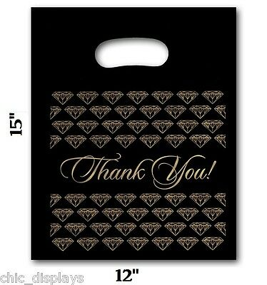 100 Large Black Thank You Merchandise Plastic Retail Handle Bags 12 X 15 Tall