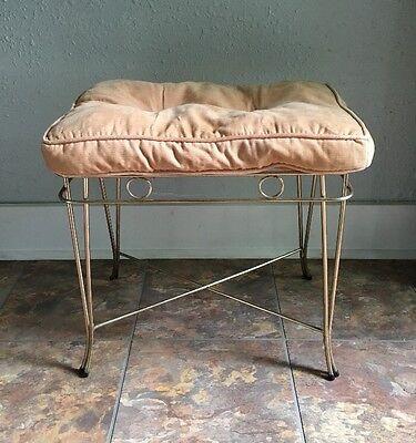 Vintage Gold Tone Metal Vanity Bench Stool MCM Hollywood Regency Style Vogue Vanity Stool
