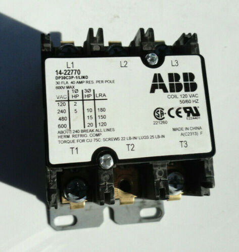 ABB Definite Purpose Contactor DP40C2P-1 2 Pole 40 Amps 120VAC Coil