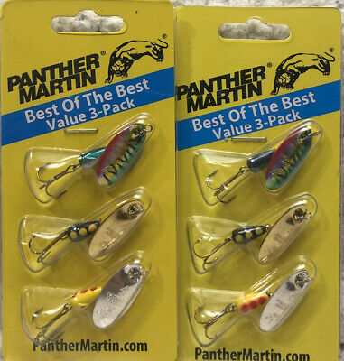 5 Packs Panther Martin Spinners Size 6 1//4oz Black Body Gold Blades