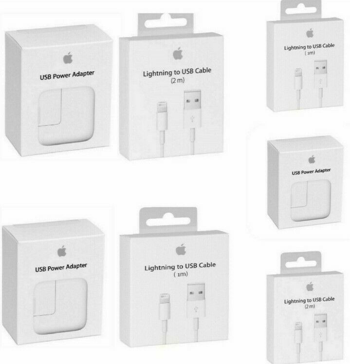 OEM Wall Charger 12W or 3ft/6ft Lightning USB Cable Fits Apple iPhone X 8 7 6 SE