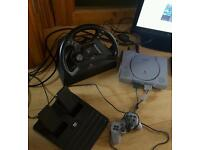 Ps1 PlayStation one console 8 games 1 controller + steering wheel