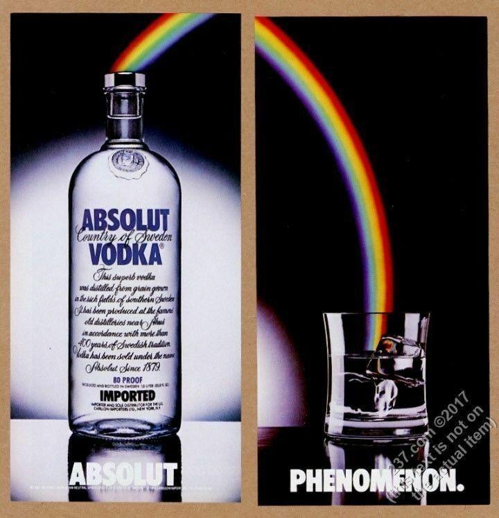 1990 Absolut Phenomenon rainbow vodka bottle and glass art vintage print ad