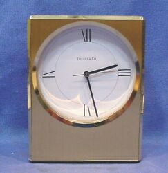 Beautiful 1980s Tiffany & Co. 6 Solid Brass Swiss Mantel Clock Works Great