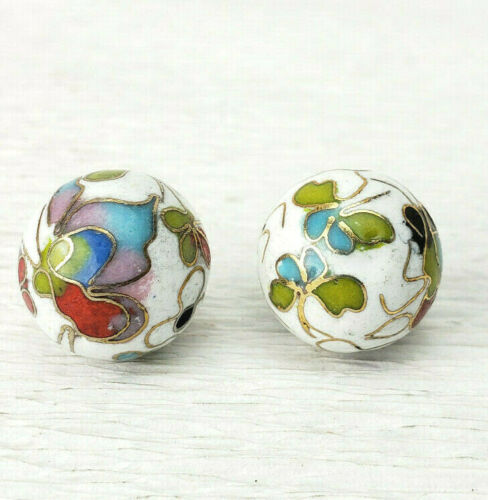 Vintage White with Mixed Color Butterflies Cloisonne Chinese Enamel 14mm 2Beads
