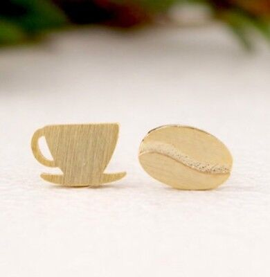 9k/9ct GOLD FILLED cute coffee cup Bean earrings teacher love GIFT jewellery A21 for sale  London