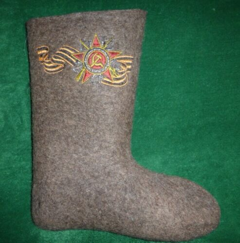 Original Russian Valenki Boots Winter  Embroidery Victory Day Russia Sheep Wool