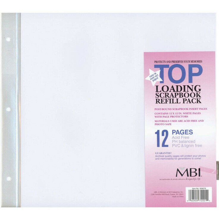 """Top Loading Scrapbook Refill Pages - 24 Sheets - 48 Pages - 12"""" x 12"""""""
