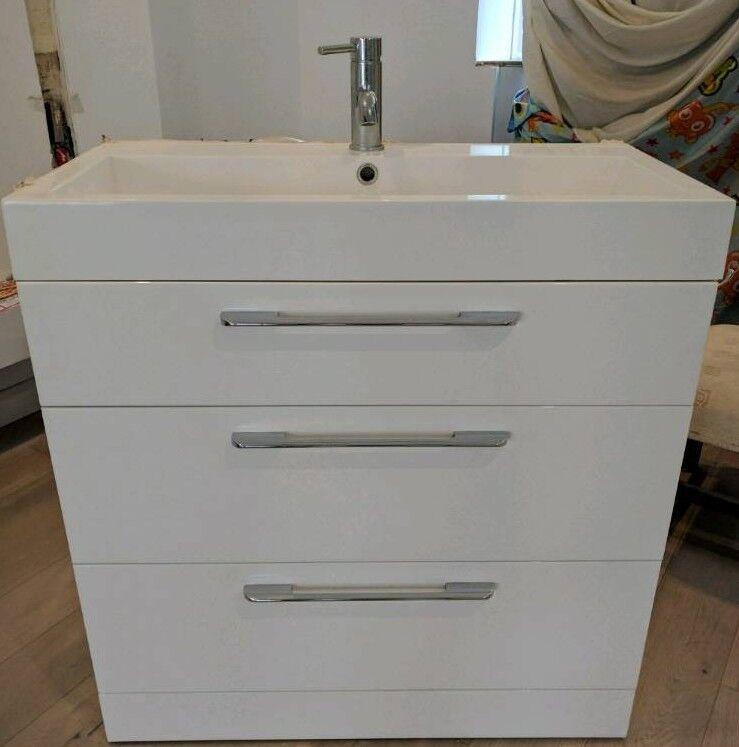 White Gloss Bathroom Sink Unit 3 Drawers