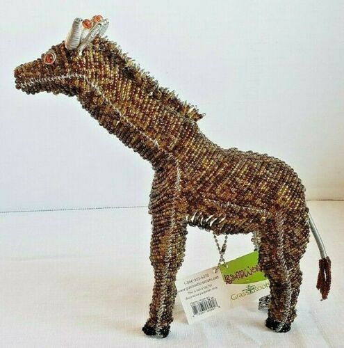 Beadworx by Grass Roots Giraffe wild animal hand crafted beaded collectible NWT
