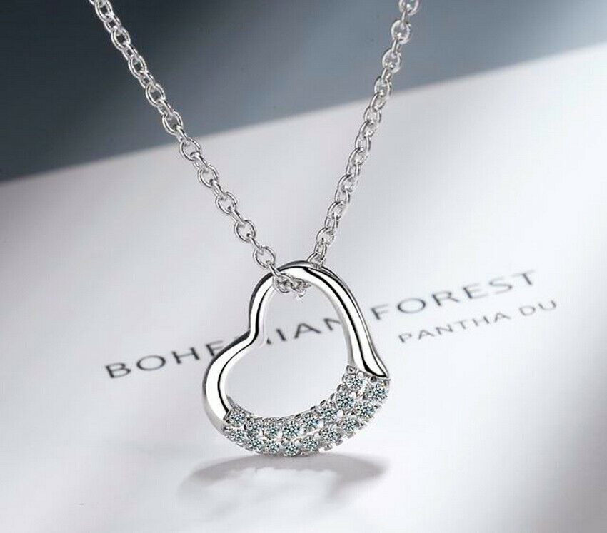 Jewellery - Crystal Heart Pendant 925 Sterling Silver Chain Necklace Womens Jewellery New UK