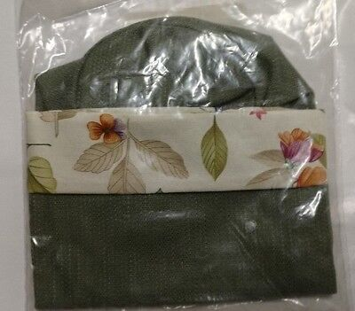 Longaberger Botanical Fields Sage Green Beverage Tote Liner Wine Bag mint in bag