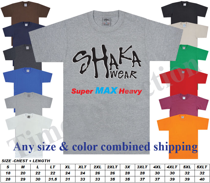 Shaka Wear Super Max Heavy Weight Plain Blank T-Shirt Regular or Tall