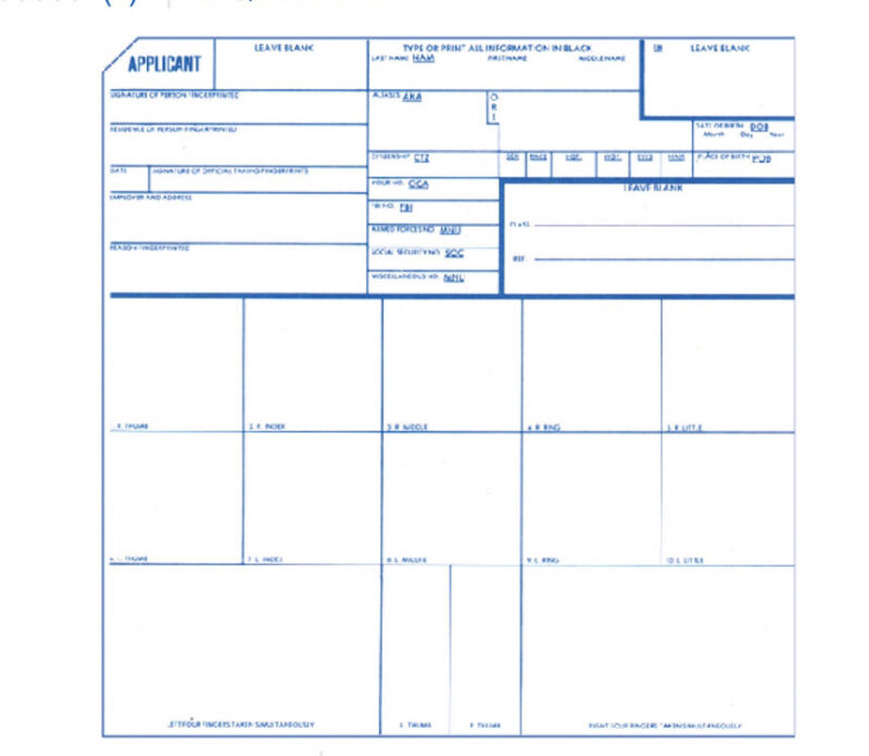FD-258 Finger Print Cards Kit w/Ink Pad. (Qty: 3 Cards & 1 Ink Pad).