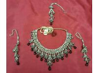 Silver plates Maroon colour stone Asian party/fashion jewellery set
