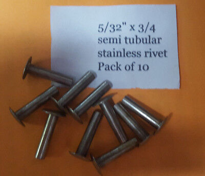 10 Pack Of Semi Tubular Stainless Rivets 532 X 34 Antique Slot Machine E