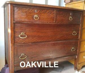 ANTIQUE Chest of Drawers Oakville GTA Dresser QUARTER SAWN RED OAK Solid Wood 40wx21dpx36h Sheraton Hepplewhite