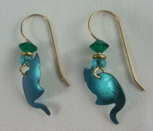 vintage green metal calico cats dangle earrings