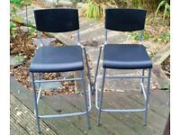 Kitchen breakfast bar stools x2 with padded seat covers.. ikea