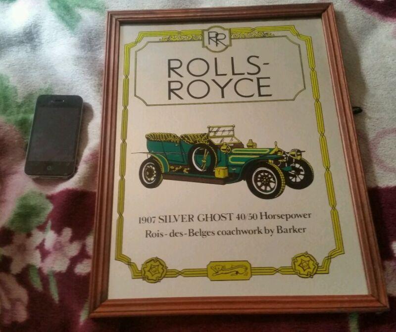 Rare Rolls Royce Silver Ghost 1907 Framed Glass Advertisement Coachwork Barker