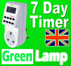 New 7 Day Digital LCD Electronic Plug in Programable mains Timer Switch 24hr