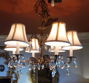 165: Vintage Brass 6 Arm Ornate Chandelier With Crystals