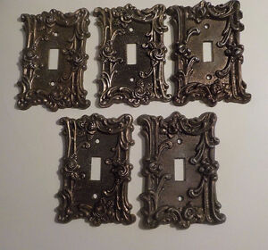 VTG.5 X AMERICAN TACK & HOWE CO. 1967 BRASS FRENCH SWITCH PLATES