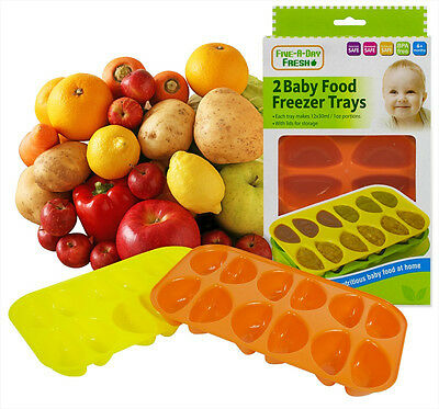 Pack Of 2 Five a Day Fresh Food Baby food Freezer Trays Makes 12 1oz Portions