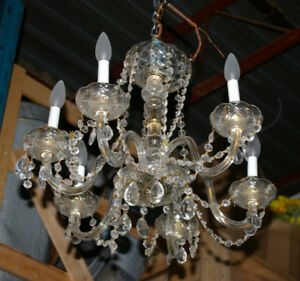 FREE DELIVERY!! Antique GORGEOUS Crystal Chandelier--PERFECT!