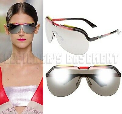 CHRISTIAN DIOR pink curved mirror shield SOLAR Runway Sunglasses NIB Authen $470