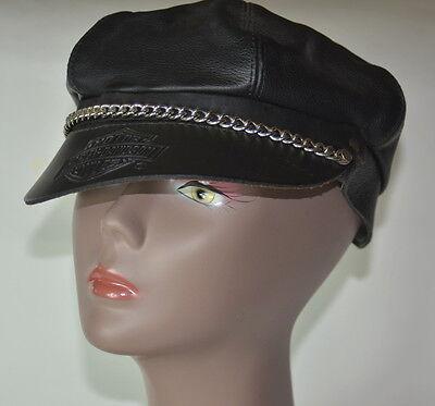 Harley Davidson Leather Captains Hat Black Adjustable Strap