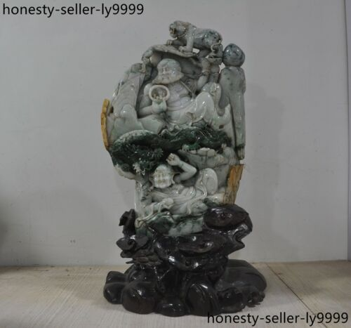 China Natural Emerald Jade Jadeite Carved Dragon Tiger Rohan Lohan Arhat Statue