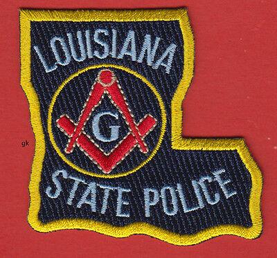 LOUISIANA STATE POLICE  MASON MASONIC  STATE SHAPE  PATCH