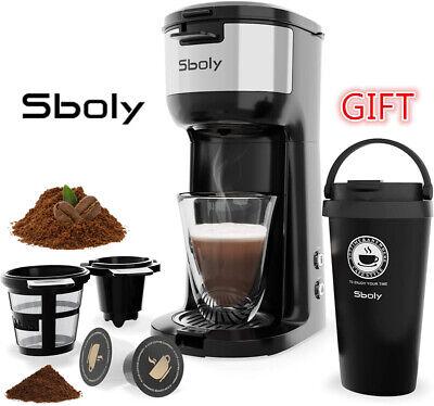 Coffee Maker K-Cup Pod & Ground Coffee Brew Machines Travel Mug Sboly...