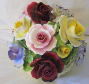 BONE CHINA PORCELAIN FLOWER BOUQUET ENGLAND HAND CRAFTED+PAINTED